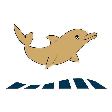 Dolphin sea animal silhouette. Art illustration. Illustration