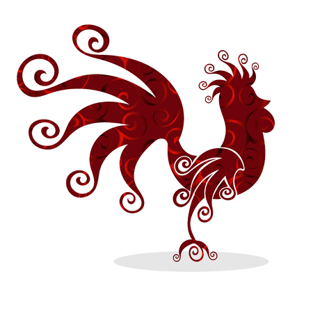 Cock red Vintage fabulous silhouette pattern bird. Vector illustration.