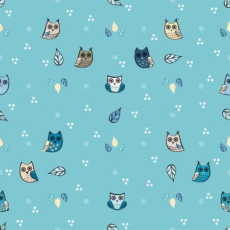 Owl vector seamless pattern Illustration