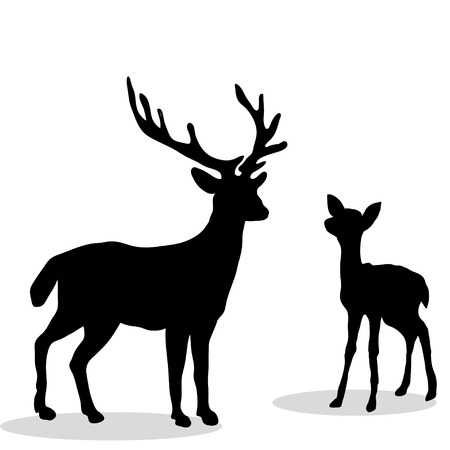 Black silhouette  Deer and Fawn white background