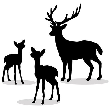 Deer family silhouette black on white backdrop.