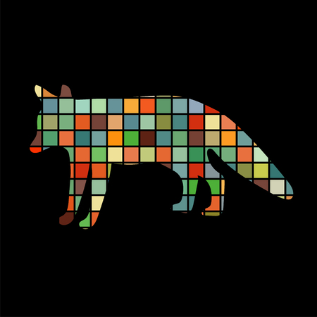 artful: Fox wildlife color silhouette animal