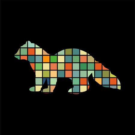 sable: Sable marten mink mammal color silhouette animal Illustration
