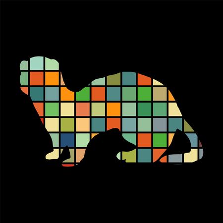 gronostaj: Ferret weasel ermine mammal color silhouette animal