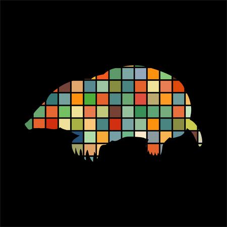 Mole insectivores mammal color silhouette animal Illustration
