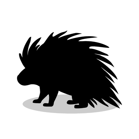 Porcupine rodent mammal black silhouette animal Illustration
