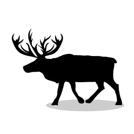 Deer northern black silhouette animal Illustration