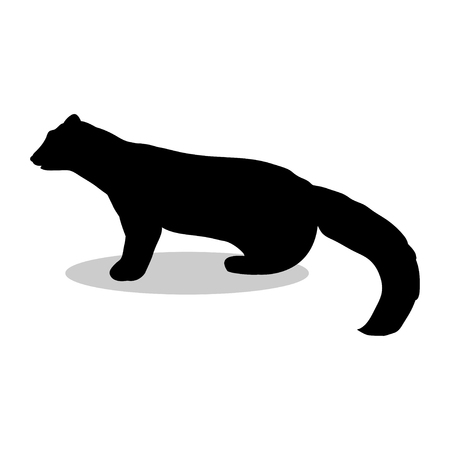 marten: Marten wildlife black silhouette animal Illustration