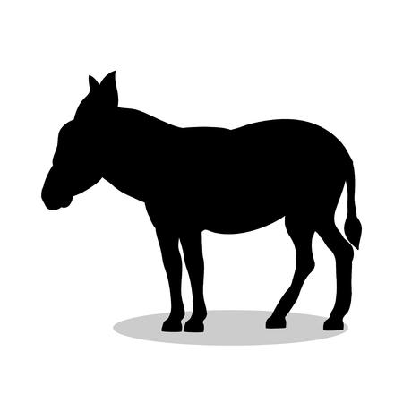Donkey farm mammal black silhouette animal Illustration