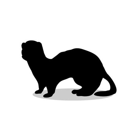 gronostaj: Ferret weasel ermine mammal black silhouette animal