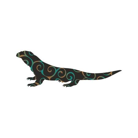 Varan lizard reptile color silhouette animal