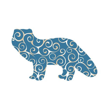 Fox arctic color silhouette animal Illustration