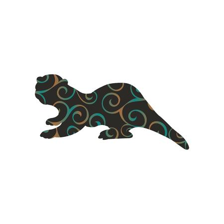 Otter mammal color silhouette animal Illustration