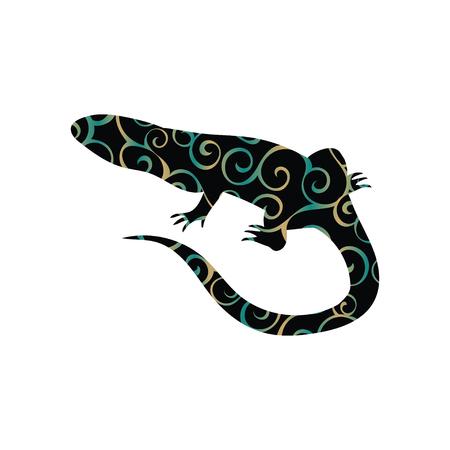 Lizard reptile color silhouette animal Illustration