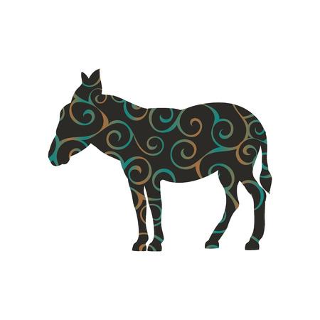Donkey farm mammal color silhouette animal Illustration