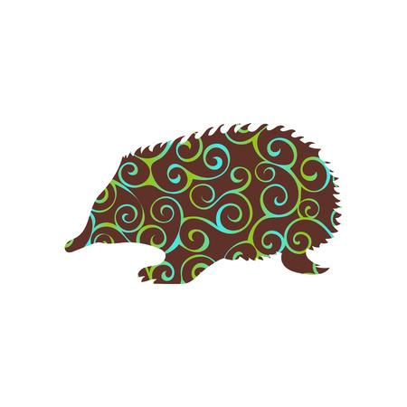 echidna: Echidna mammal color silhouette animal