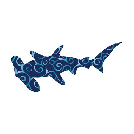 Shark hammerhead predator nautical color silhouette animal Illustration