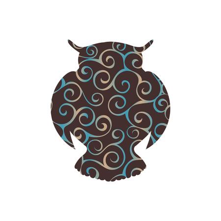 Owl bird color silhouette animal