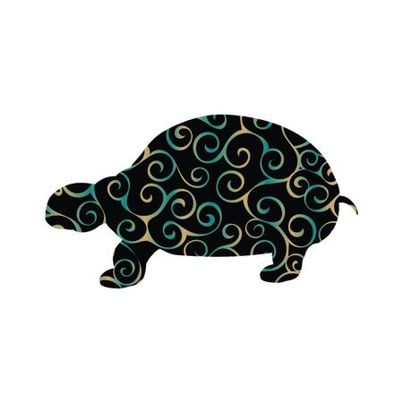 Land turtle reptile color silhouette animal