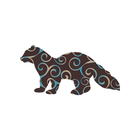 marten: Sable marten mink mammal color silhouette animal Illustration