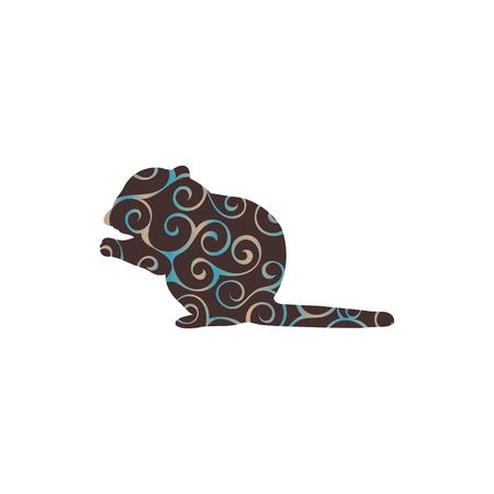ardilla: Chipmunk roedor mamífero silueta de color animal