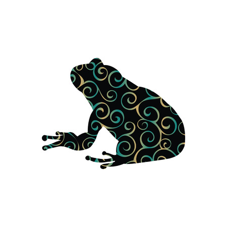 Frog amphibian color silhouette animal