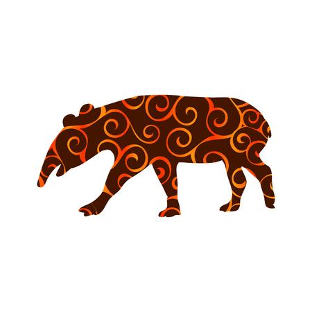 Tapir mammal color silhouette animal Stock Photo