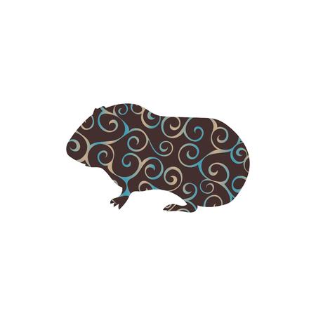 squeak: Guinea pig pet rodent color silhouette animal