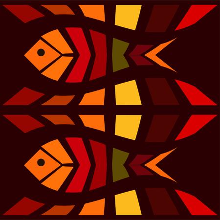 Fish mosaic seamless pattern. Natural vector background illustration Illustration
