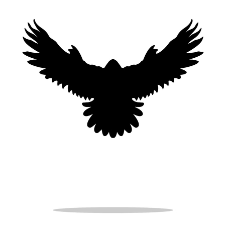 soar: Falcon bird black silhouette animal Illustration