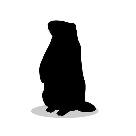 Groundhog rodent black silhouette animal. Vector Illustrator.