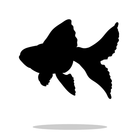 crucian carp: Goldfish fish black silhouette aquatic animal. Vector Illustrator.