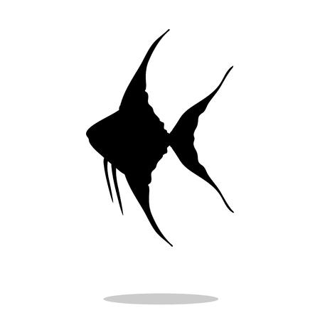 Scalare fish black silhouette aquatic animal. Vector Illustrator. Illustration