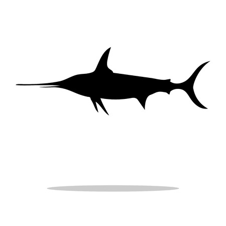 ichthyology: Swordfish fish black silhouette aquatic animal. Vector Illustrator. Illustration