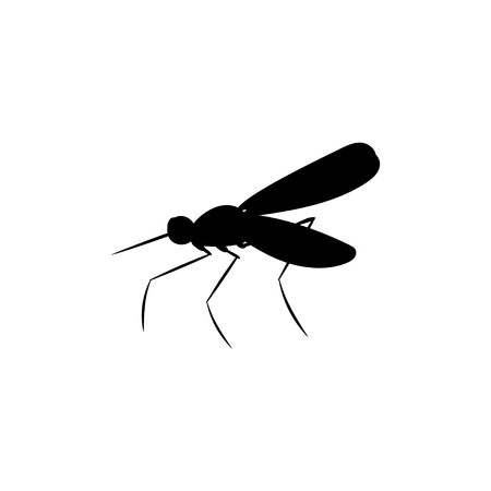 Mosquito insect black silhouette animal. Vector Illustrator. Illustration