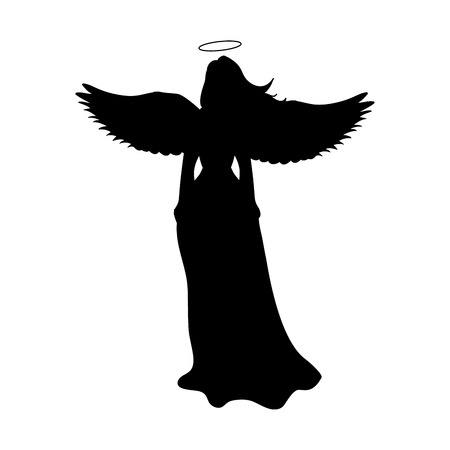 Angel silhouette christmas religious christian Stock Illustratie
