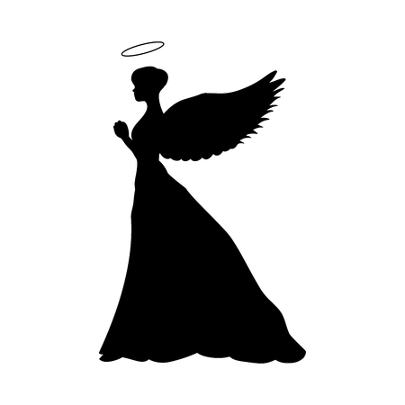 Angel silhouette christmas religious christian Çizim