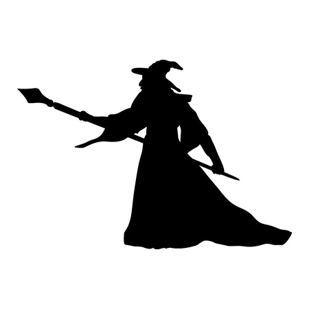 Magician wizard character silhouette fantasy.