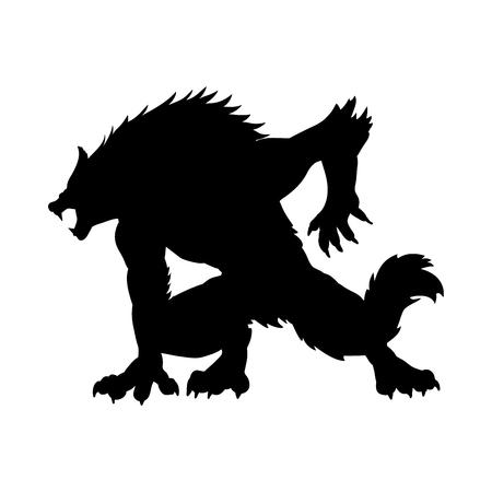 Werewolf silhouette ancient mythology fantasy. 版權商用圖片 - 87874666
