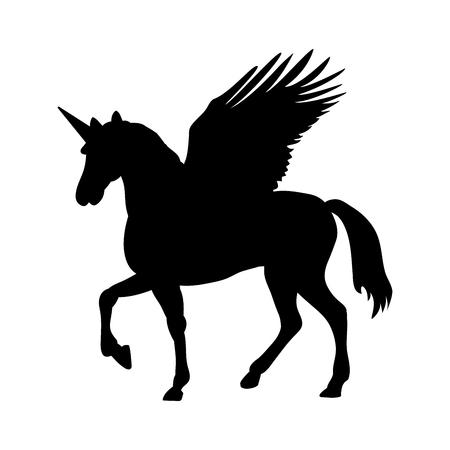 Pegasus Unicorn silhouette mythology symbol fantasy tale. Illustration