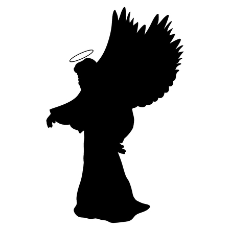 Archangel silhouette christmas angel religious christian Stock Illustratie