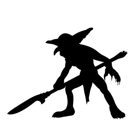 Goblin silhouette monster villain fantasy Illustration