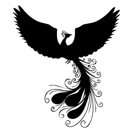 mythical phoenix bird: Phoenix bird silhouette ancient mythology fantasy Illustration