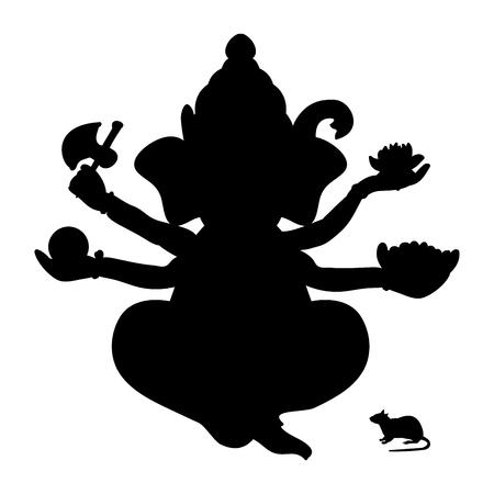 Ganesha silhouette traditional religion spirituality.