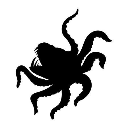 Kraken giant octopus silhouette ancient mythology fantasy.