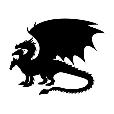 Dragon fantastique silhouette symbole mythologie fantastique. Banque d'images - 87875668