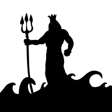 Poseidon god silhouette ancient mythology fantasy. 免版税图像 - 87875675