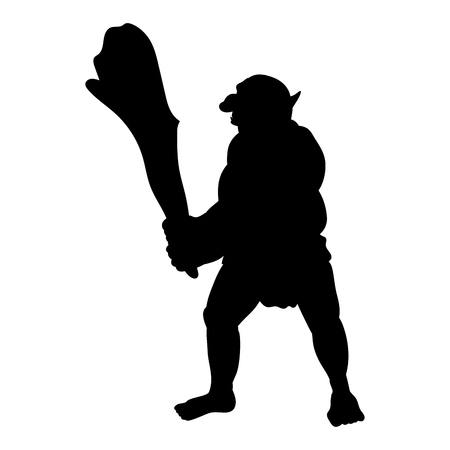 Troll silhouette monster villain fantasy. Illustration