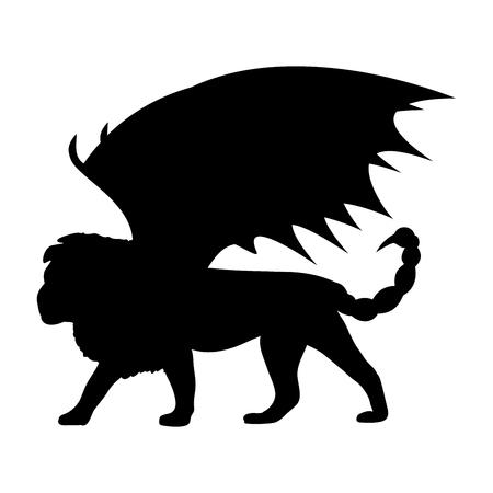 Manticore silhouette mythology symbol fantasy. Illustration