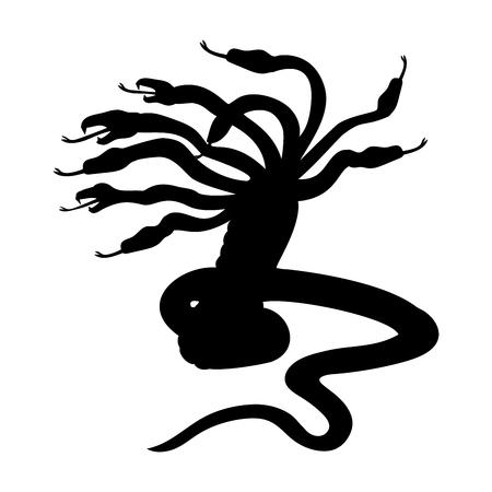 Hydra silhouette ancient mythology fantasy.